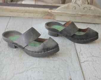 Antique French Shoes Heels Black Leather Wooden Soles Clogs Sandals Display Pair NPI Semelle's de Galoches peasant primitive