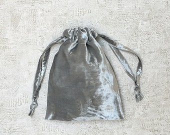 smallbag velvet silver grey smooth silk - blend cotton bag