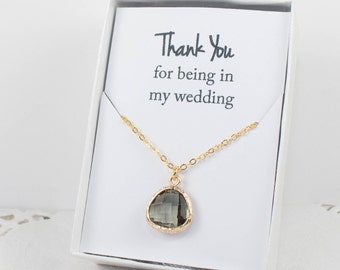Charcoal Gold Necklace, Bridesmaid Charcoal Necklace, Personalized Gold Necklace, Grey Wedding Accessory, Bridesmaid Jewelry