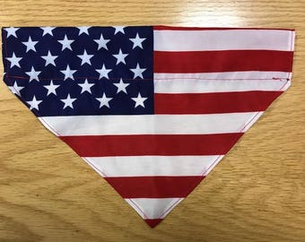 American Flag Over the Collar Pet Bandana