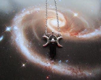 Black Onyx Triple Goddess Necklace, Pagan Necklace, Triple Moon Necklace, Black Onyx Necklace, Wicca Jewelry, Pagan Jewelry, Wicca Pendant