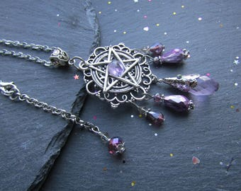 Pentacle Pendant with Amethyst and Lilac Crystals, Ostara Necklace, Spring Equinox, Pagan Necklace, Wicca Necklace, Pentacle Jewelry, Lilac