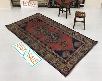 "3""8x6""8ft.Rugs,floor rug.vintage Oushak rug,oushak Vintage rug. Turkish rug,Vintage deco rug,Oushak deco rug.hallway rug,Home rug,old rug."