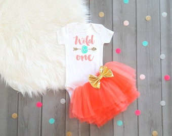 Wild and One Birthday Girl Wild and One Birthday Outfit Wild and One Outfit Wild One Outfit Coral and Gold Birthday Wild One Birthday