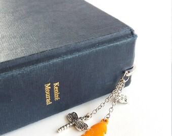 Orange bookmark, leaf bookmark, bookmark, gift idea, school, bookmark teacher gift, jewelry, student gift