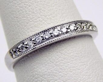 18k white gold diamond band ring #10374