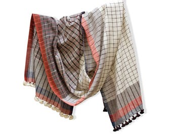 Mother's Day Gifts Pom Pom Scarf Summer Scarf for Women White Scarf Handwoven Scarf Khadi Cotton Scarf Plaid Scarf Check Scarf Vegan Gift