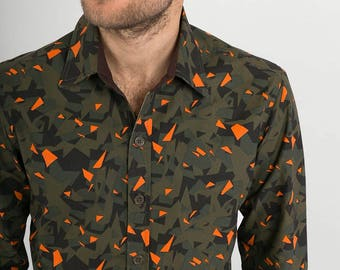 Mens 100% Cotton Long Sleeve Slim Fit Shirt Green Orange Camouflage Print