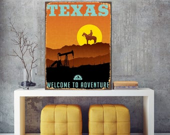 Texas, Welcome To Adventure, Print On Metal, Texas Wall Art, Texas Metal Part 86