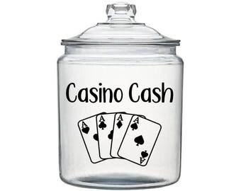Casino Cash Decal, Casino Saving Jar, Casino Gifts, Gift for Gambler, Adult Piggy Bank, Change Jar Decal, Funny Adult Gift, Gift for Grandma