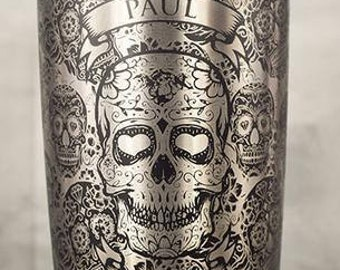 YETI 20oz Tumbler Laser Engraved, Black, Sugar Skulls with Name