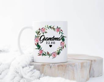 Custom New Grandma Mug, Grandma EST Mug, New Grandma Gift, Grandma To be, New Nana Gift, Pregnancy Announcement, New Grandma Present