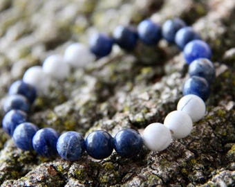 Blue Sodalite with Howlite Accents Crystal Bead Mala Bracelet Blue White Mala Bead Bracelet Blue White Mala Bead Bracelet Crystal Healing