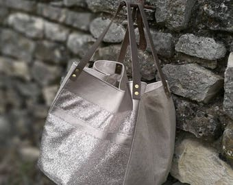 Tote Bag - Collection Glam - Taupe - linen fabric, cotton and iridescent faux leather