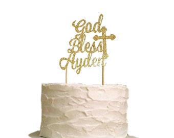 Baptism Cake Topper - Christening Cake Topper - God Bless Cake Topper - Baptism Decor - Communion Cake Topper - Religious personalized