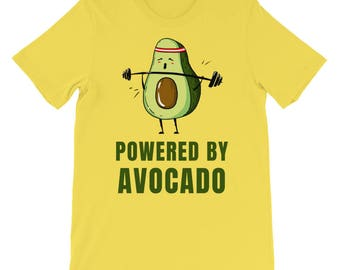 Powered By Avocado Funny Weight Lifting Gym Unisex T-shirt, Gym Shirt, Workout Shirt, Funny Gym Shirt, Gym Shirts