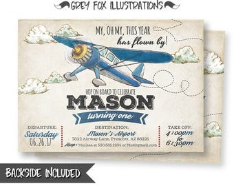 Plane Invitation, Airplane Invitation, Vintage Plane Invitation, Vintage Airplane Invitation, Airplane Party, Birthday, Printables, Digital