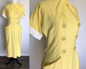 Buttercup Bombshell Dress   1950s Vintage Yellow Linen Double Breasted Buttons Rockabilly Wiggle Dress   Size S/M