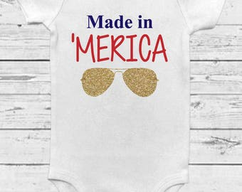 Made in 'Merica - 4th of July Onesie - Made in America - First Fourth Outfit - Fourth of July Baby - 4th of July Baby - Made in Merica Baby