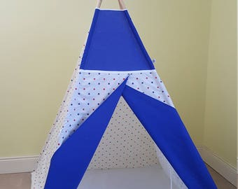 Red and navy stars teepee tent / teepee play tent/ kids wigwam / boys tipi