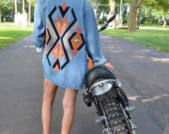 1980s Oversized Southwestern Denim Blazer, Tribal JeanJacket Coat