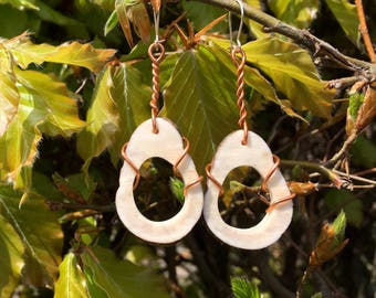 Real antler teardrop earrings with copper wire-wrapped design