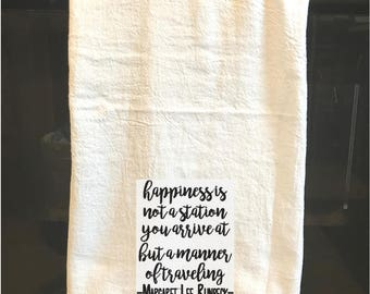 Happiness embroidered towel - Travel, Inspiration, encouragement - gifts for the home, hostess, couple -farmhouse decor-Support mission trip