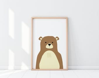Bear Nursery Decor, Bear Nursery Prints, Baby Bear Prints, PeekaBoo Bear Print, Bear Wall art, Nursery Decor, Nursery Prints, Animal Nursery