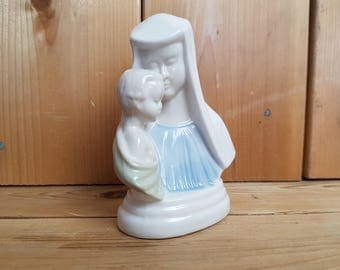 Vintage Virgin Mary and Baby Jesus Peaceful Mother and Child White Porcelain Statue Religious Gift Catholic Shower Baptism Gift Christian