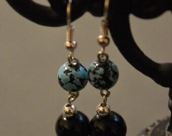 Black/Blue/Splatter/Silver Dangle Earrings