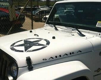 JEEP SAHARA Hood Vinyl Decals Stickers Emblem Logo Graphics