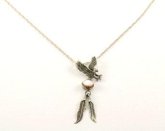 Vintage Navajo Eagle Mother of Pearl Necklace 925 Sterling NC 873