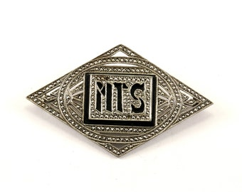 Vintage Initial MTS Onyx Marcasite Inlay Pin/Brooch 925 Sterling BB 906