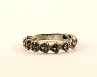 Vintage Heart Design Marcasite Band Ring 925 Sterling RG 2179