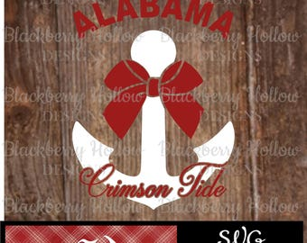 Alabama Crimson Tide Anchor, Cut Files, SVG, Silhouette, DXF, Heat Transfer Projects