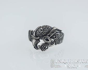 Odin Raven Ring - Hugin and Munin Ring - Handmade 925 Silver Norse Jewelry - Unique Norse Ring