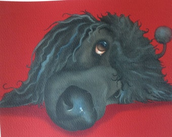 "black standard poodle painting ""Pea"""