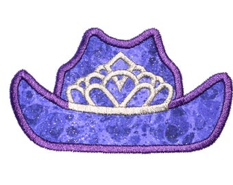 Rodeo Queen, Princess, Cowgirl Hat, Crown Machine Embroidery Applique Design File Instant Download 4x4, 7x5