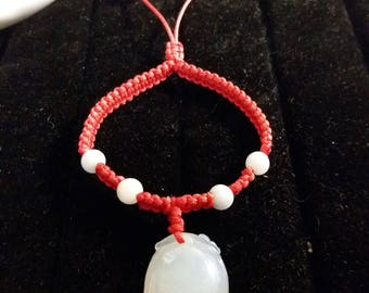 Lucky Chinese Red String Bracelet with a Natural Jadeite Jade Peach Charm and Six Beads