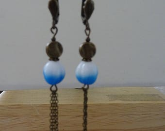 Long EARRINGS blue and white