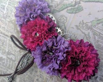 Steampunk flower hair barrette with gears, key