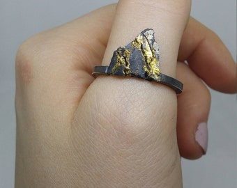 silver and gold mountain ring