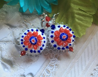 4th of July Jewelry, 4th of July Earrings, SRA Lampwork Earrings, Red, White and Blue Flower/Floral Earrings, Lampwork Jewelry, Gift For Her