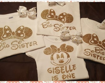 Minnie Mouse Birthday Shirt or Onesie With Sibling (Relative) Shirt or Shirts Set, Mom, Dad, Sister, Brother, Granny, Papa, Uncle, etc