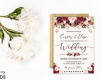 rustic floral wedding invitation autumn flower wedding invite watercolor fall flowers marsala burgundy - Pictures Of Wedding Invitations