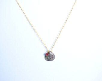 necklace,grey color necklace,gemstone necklace,ruby necklace,july birthstone,drop necklace,chain necklace,women jewelry ,birthday gift