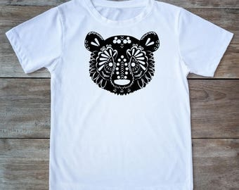 Bear shirt, animal shirt, bear tattoo, bear tee, zen style shirt, bear print, henna print shirt, hipster gift, gift for tattoo lovers