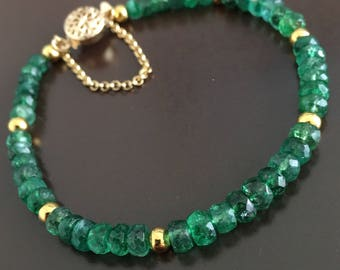 Natural Emerald on Gold Vermeil Bracelet
