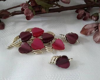 Coro Cranberry and Purple Lucite Brooch and Earrings Set