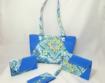 Blue damask purse set - Handmade purse set - Blue bag - Handbag - Blue damask print - Blue print - Handmade - Fabric bag - Double strap